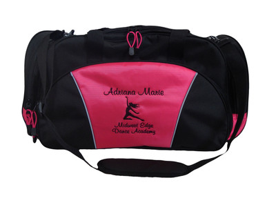 Mystical Dancer Silhouette Dance Ballet Ballerina Personalized Embroidered HOT PINK DUFFEL Font Style CASUAL SCRIPT