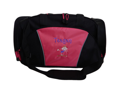 Stick Girl Beam Gymnast Gymnastics Dance Sports Personalized Embroidered TROPICAL HOT PINK DUFFEL Font Style GIRLZ