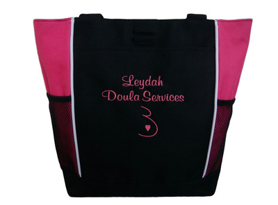 Doula Services Belly Heart Nurse Nursing Mother Baby Student Midwife Personalized Embroidered Zippered TROPICAL HOT PINK Tote Bag Font Style CASUAL SCRIPT