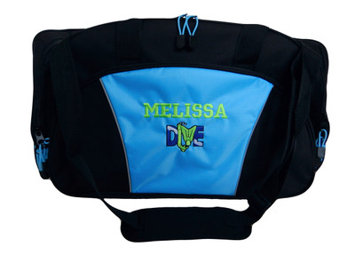 Diver Scuba Snorkel Diving Under Water Sports Personalized Embroidered DUFFEL Font Style VARSITY-LT BLUE color no longer available.  Image is for display of embroidery design.