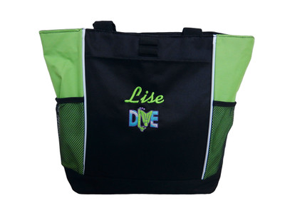 Diver Diving Scuba Snorkel Personalized Embroidered Zippered LIME GREEN Tote Bag Font Style LISA