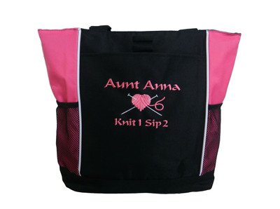 Knitting Needles Heart Crochet Embroidery Crafts Custom Monogrammed Personalized TROPICAL HOT PINK Tote Bag Font Style CALLIGRAPHY