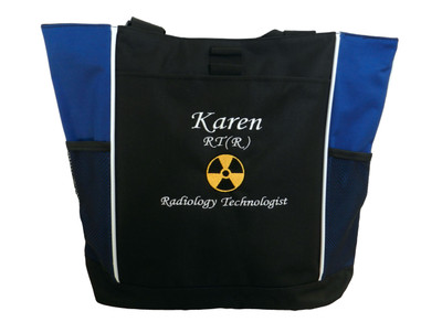Radiation Radiologist Rad Tech RT MRT CRT R AART BD Medical Technicial Radiologist X-ray Personalized Embroidered Zippered ROYAL BLUE Tote Bag Font Style MONO CORSIVA