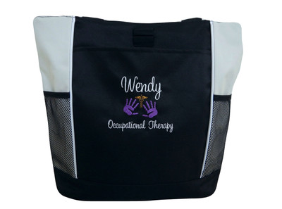 Caduceus Handprints Occupational Therapy Therapist Nurse Nursing OT PT Student STONE Tote Bag Font Style SWEETHEART
