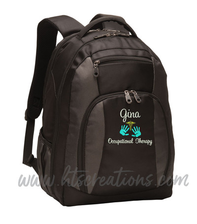 Caduceus Handprints OT SLP PT Occupational Therapy Therapist Medical Personalized Embroidered Backpack with Waterbottle Holder FONT STYLE SWEETHEART