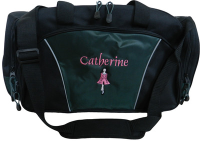 Irish Dancer Dance Ghillie Girl Celtic Personalized Embroidered Personalized Dark HUNTER GREEN DUFFEL bag Font Style OLDE ENGLISH (HOT PINK DRESS with BLACK TRIM)