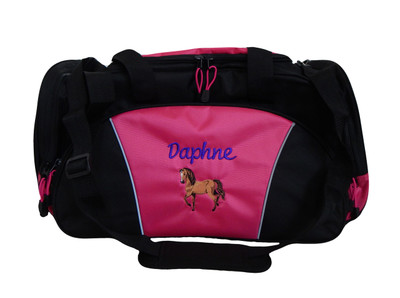 Horse Equestrian Bworn Vet DVM Personalized Embroidered HOT TROPICAL PINK DUFFEL Font Style CURSIVE