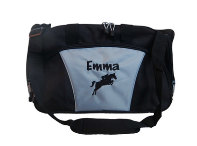 Horse Silhouette Jumping Riding Equestrian Vet Tech DVM Personalized Embroidered ROYAL BLUE DUFFEL Font Style MARKER PEN