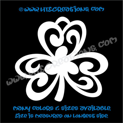 Shamrocks Celtic Irish Dance Ireland Luck Clover Vinyl Decal WHITE