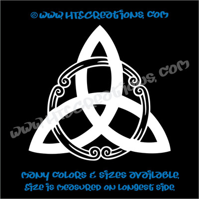 Celtic Trinity Knot Irish Dance Ireland Religious Church Triangle Car Vinyl Decal WHITE