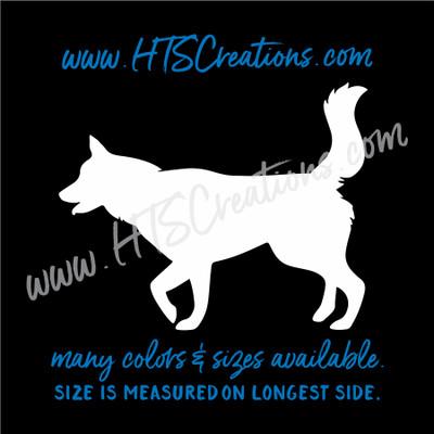 Dog Breed ALASKAN HUSKY SIBERIAN Snow Sled Artic Vinyl Decal Animal Lover Rescue K9 Canine  WHITE