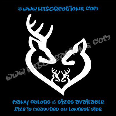 Deer Doe Family Hunting Buck Elk Mom Dad 2 Kids Love Vinyl Car Truck Boat Decal Sticker WHITE