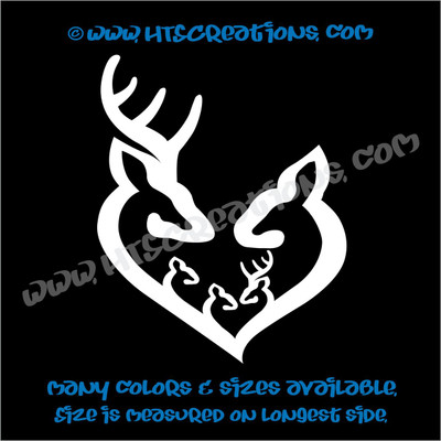 Deer Doe Family Hunting Buck Elk Mom Dad 3 Kids Love Vinyl Car Truck Boat Decal Sticker WHITE