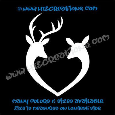 Deer Doe Reindeer Hunting Buck Elk Love Couple Wedding Vinyl Truck Decal Sticker WHITE