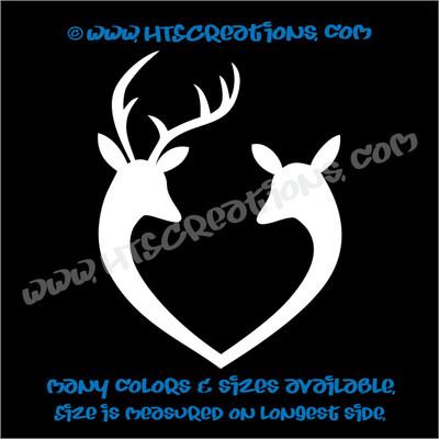 Deer Doe Reindeer Hunting Buck Elk Love Couple Wedding Vinyl Truck Decal Sticker WHITE