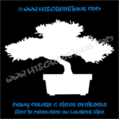 Bonsai Japanese Asian Ornamental Tree Nature Plant Car Truck Laptop Wall Vinyl Decal WHITE