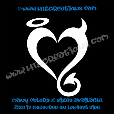 Devil Angel Heart Romance Friendship Sexy Love Car Truck Laptop Wall Vinyl Decal WHITE