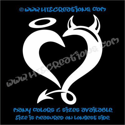 Devil Horns Angel Halo Heart Romance Friendship Sexy Love Car Truck Laptop Wall Vinyl Decal WHITE