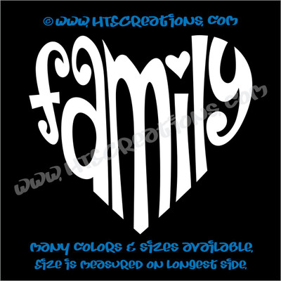 Family Heart Romance Friendship Love Subway Art Home Car Truck Laptop Wall Vinyl Decal WHITE