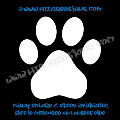 Paw Prints Rescue Dog Lover Adopt Pet Vinyl DecalTruck Laptop Wall Vinyl Decal WHITE