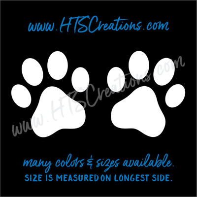 Paw Prints Duo Rescue Dog Lover Adopt Pet Vinyl Decal Tumbler Thermos Truck Laptop Wall Vinyl Decal WHITE