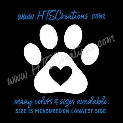 Paw Print in Heart Love Rescue Dog Lover Adopt Pet Vinyl Decal Truck Laptop Thermos Vinyl Decal WHITE