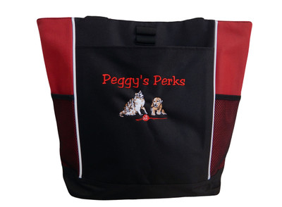 Dog Cat Canine K9 Puppy Doggy Groomer Walker Rescue Adopt Pet Custom Personalized Embroidered Zippered Tote Bag
