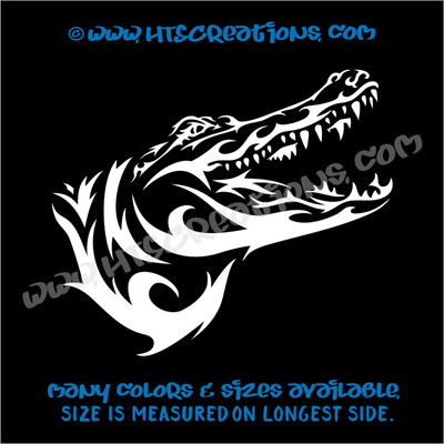 Alligator Crocodile Tribal Wildlife Hunting Vinyl Decal Laptop Car WHITE