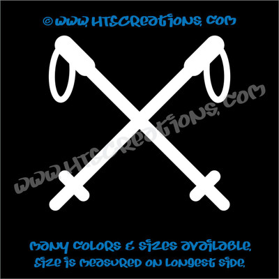 Hiking Poles Mountain Camping Climbing Adventure Vinyl Decal Laptop Car WHITE