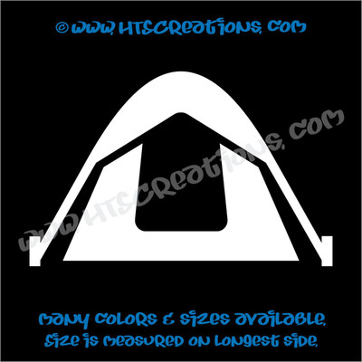 Tent Mountain Camping Climbing Outdoor Adventure Vinyl Decal Laptop Car WHITE