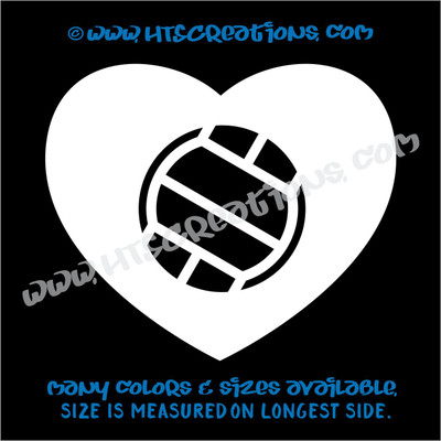 Volleyball Heart Love Sports Vinyl Decal Laptop Car Door Mirror Truck Vanity Boat WHITE