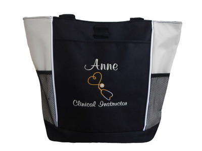 Upside Down Heart Stethoscope Clinical Instructor Nurse Practitioner Respiratory Therapist Personalized Embroidered Zippered Tote Bag Font Style CASUAL SCRIPT