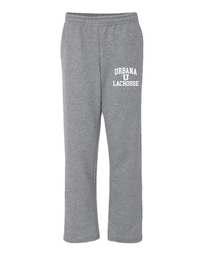 Urbana Hawks Sweatpants LACROSSE Cotton OPEN LEG With Pockets Many Colors Available Sz S-2XL SPORTS GREY-WHITE PRINT
