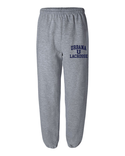 Urbana Hawks LACROSSE Sweatpants Cotton ELASTIC CUFF Bottom Colors Navy or Sports Grey Available SZ S-2XL  SPORTS GREY