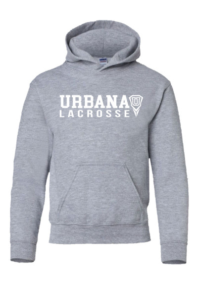 Urbana Hawks LACROSSE  Cotton Hoodie Sweatshirt YOUTH Many Colors Available SZ S-XL  SPORTS GREY (WHITE PRINT)