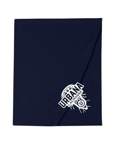 Urbana Hawks Cotton Sweatshirt Stadium Blanket LACROSSE LAX HEAD 50x60 Navy or Sports Grey Available NAVY