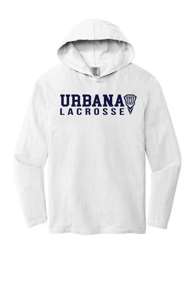 Urbana Hawks LACROSSE T-shirt Cotton Long Sleeve Hooded Shirt COMFORT COLORS Many Colors Available SZ S-2XL WHITE
