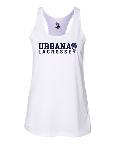 Urbana Hawks LACROSSE Tank Top Performance LADIES Racer Back Badger Polyester Many Colors Available Sz S-2XL WHITE