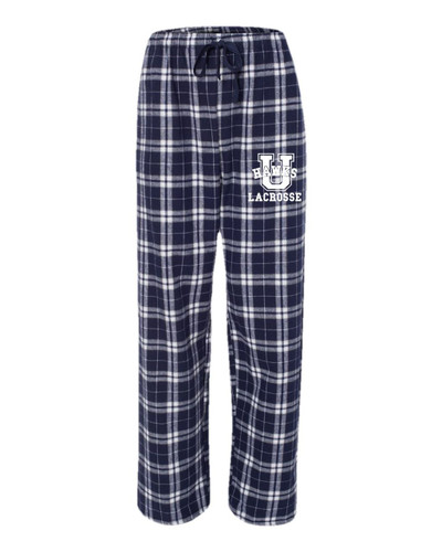 Urbana Hawks LACROSSE Flannel Lounge Pants with Pockets Boxercraft Unisex Sz S-3XL NAVY SILVER