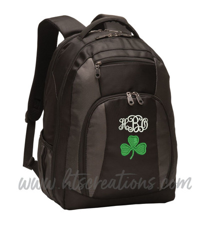 Celtic Shamrock Ireland Irish Dance Personalized Embroidered Monogram Backpack  Black Charcoal Waterbottle Holder INTERLOCKING MONOGRAM