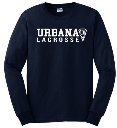 Urbana Hawks LACROSSE T-shirt Cotton LONG SLEEVE Many Colors Available SZ S-3XL NAVY