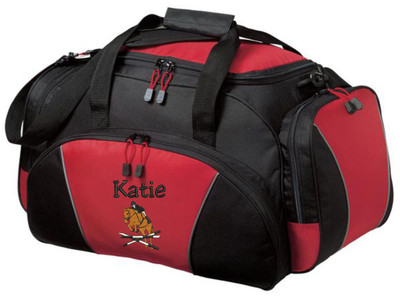 Horse Jumper Riding Equestrian Saddle Personalized Embroidered RED Duffel  Font Style JESTER