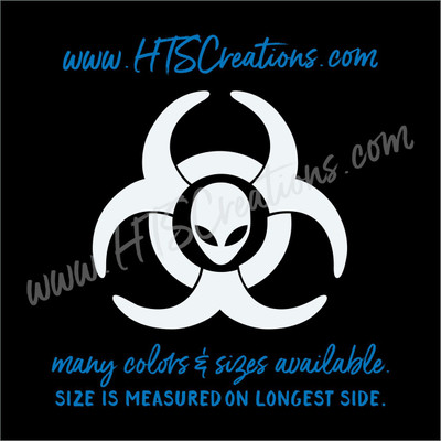 Alien Biohazard Caution Area 51 Radiation Outer Space Vinyl Decal Laptop Car Boat Mirror Truck Mirror Cell Phone Thermos WHITE