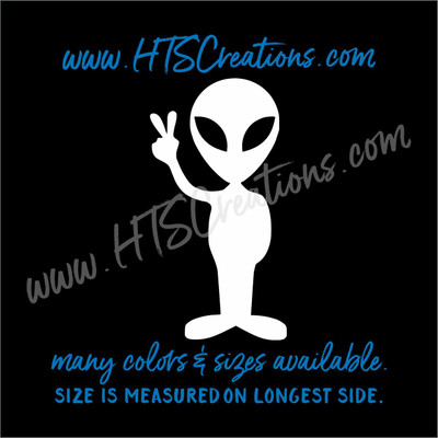 Alien Peace Head Extraterrestial Area 51 UFO Outer Space Vinyl Decal Laptop Car Boat Mirror Truck Mirror Cell Phone Thermos WHITE