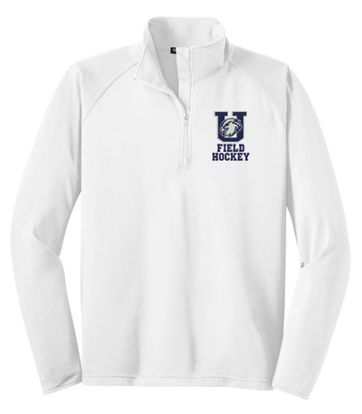 Urbana Hawks Half Zip FIELD HOCKEY Performance Stretch Sport Wick Polyester Spandex Pullover Many Colors Available WHITE
