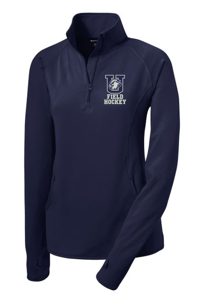 Urbana Hawks Half Zip Performance Stretch  FIELD HOCKEY LADIES Sport Wick Polyester Spandex Pullover Many Colors Available NAVY