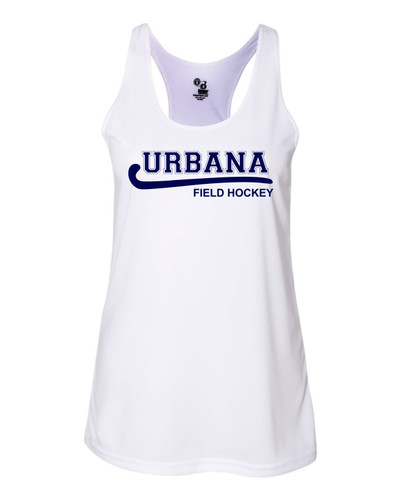 Urbana Hawks FIELD HOCKEY Tank Top Performance LADIES Racer Back Badger Polyester Many Colors Available Sz S-2XL WHITE