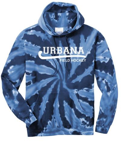 Urbana FIELD HOCKEY Cotton Hoodie Sweatshirt Tie Dyed Navy Spiral SZ S-3XL