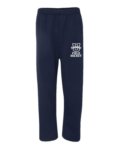 Urbana Sweatpants FIELD HOCKEY Cotton OPEN BOTTOM With Pockets Many Colors Available SZ S-2XL SPORTS NAVY