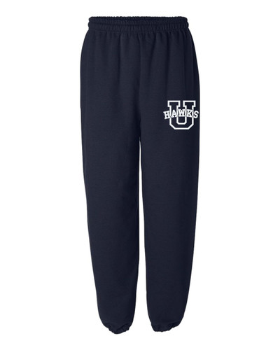 URBANA Sweatpants Cotton ELASTIC CUFF Bottom Colors Navy or Sport Grey Available SZ S-2XL NAVY